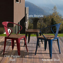 Stackable Metal Chairs Red Industrial Retro 4 Cafe Vintage Style Dining Outdoor