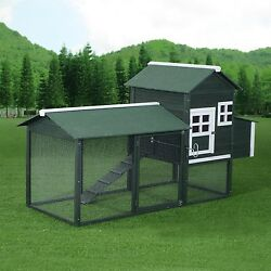 Chicken Coop Hen House with Run Backyard Wooden Frame Poultry Kit Roster Green
