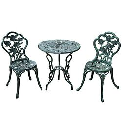 Outsunny 3-Piece Outdoor Cast Iron Patio Furniture Antique Style Bistro Dinin...