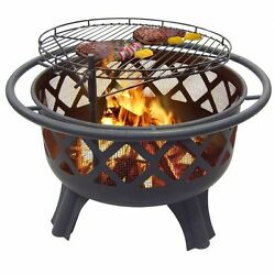 Patio Fire Pit Wood Burning Outdoor Backyard Fireplace Mesh Cover Grilling Grate