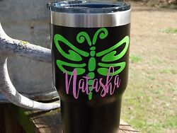 Custom Monogram Dragonfly Vinyl Decal for Stainless Tumblers Coffee Travel Cups