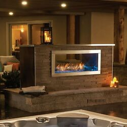 NAPOLEON GALAXY GSS48ST OUTDOOR SEE THRU LINEAR GAS FIREPLACE 2-SIDED STAINLESS