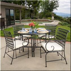 Patio Dining Set 5 Piece Round Table Chairs Black Metal Outdoor Garden Furniture