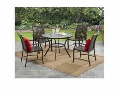 5 Pc Patio Furniture Dining Set Outdoor Table And 4 Straps Metal Chairs NEW