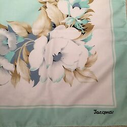 Designed By JACQMAR of London vintage TealWhite Floral Scarf 29 12