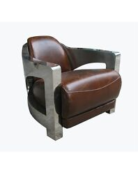 Pair of Restoration Industrial Aviator Hardware Bristol Brown Leather Arm Chair