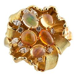 Fire Opal And Diamond Yellow Gold Ring