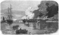 DISASTERS. Burning of the Eastern Monarch antique print 1859 GBP 13.99