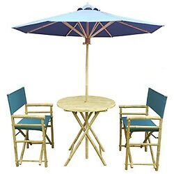 Zew 4 Piece Bamboo Bistro Garden Set with Round Table 2 Treated Director Canv...