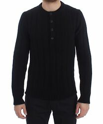NEW $1800 DOLCE & GABBANA Sweater Cashmere Black Henley Knitted Mens s. IT50  L