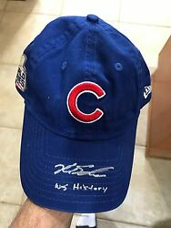 LE CUBS WORLD SERIES CAP-SIGNED INSCRIBED KYLE SCHWARBER-WS HISTORY 11 MLB HOLO