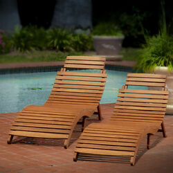 Sunbathing Lounge Chair Pool Chaise Wooden Outdoor Patio Folding Lawn Set of 2
