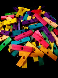 50 Wood Blocks 2quot; Colored Wooden Parrot Bird Toy Parts W 1 4quot; Hole $8.99