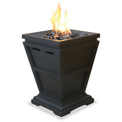 Outdoor Fire Pit LP Gas Column Small Black Bon Fires Heater Cooking Camping Yard