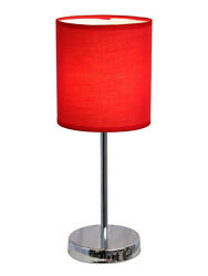 Simple Designs Table Lamp Fabric Shade Red Lamp Night Light Home Decoration $60.00