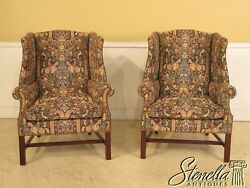 41979: Pair HANCOCK & MOORE Tapestry & Leather Wing Chairs