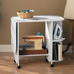Sewing Machine Craft Table Desk Center Expandable Work Space White Laminate