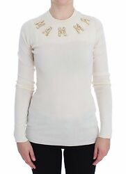 NWT $1700 DOLCE & GABBANA Sweater White Cashmere MAMMA Pearls Gold IT42 US8 M
