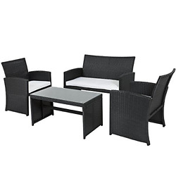 Outdoor Patio Furniture 4 Pcs Set Rattan All Weather Dining Home Garden Bistro