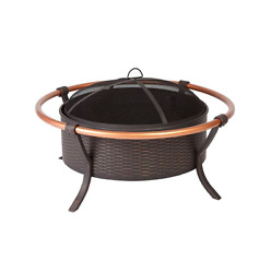 Fire Pit Bowl Woven Copper Rail Elegant Outdoor Patio Living Portable Easy Use