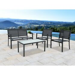 Outdoor Patio Furniture Set 4 Pcs Rattan All Weather Bistro Home Garden Dining