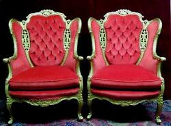 Pair Louis XV Wing Back Music Chairs Red Tufted Velvet Gilded Stunning