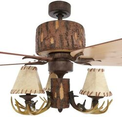Ceiling Fan Nutmeg Lodge 52 In. Hunting Cabin Mountain Indoor Home Rustic Log