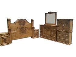 King Size Real Wood Honey Rustic Bedroom Set Western Rustic Texas Butterfly Star
