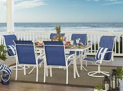 7 Piece Patio Dining Set Furniture White Outdoor Table Chair Deck Yard Pool Lawn