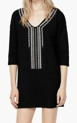 NWT MANGO EMBROIDERED SUMMER V NECK SWIM COVER UP DRESS BLACK SOLD OUT $100 $39.99