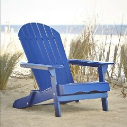 Wood Chair Navy Blue Adirondack Reclining Folding Wooden Outdoor Patio Furniture