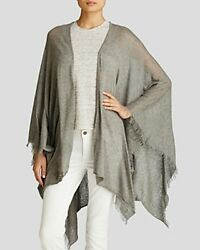 New $198 FRAAS THE SCARF SOURCE GRAY KNIT SILK WOOL WRAP SCARF PONCHO style