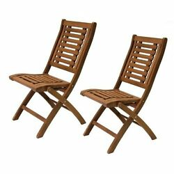 Folding Eucalyptus Side Chair Fully Assembled Patio Garden Outdoor Wood 2 pack