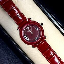 32.5mm BE HAPPY Ladies Watch 3 FACTORY DIAMONDS RUBIES & Chopard Leather Band