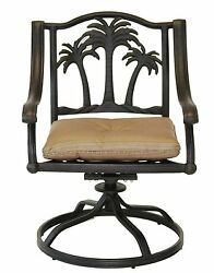 Palm Tree Outdoor Patio Dining Chairs Dark Bronze Color Cast Aluminum Set of 8