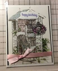 Birthday Card Silver Foil Accents She Shed Hanging Flowers Pink Ribbon Handmade