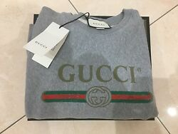 Gucci Man appliqued Distressed Logo Printed sweater gray S vintage runway
