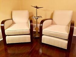 Rare French Art Deco Club Chairs Perfectly Refurbished French Silk Upholstery