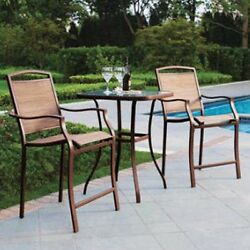 3 Piece High Outdoor Bistro Set Table Bar Chairs Patio Furniture Deck Dining Tan