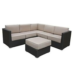 Sofa Sectional Patio Set 4 Piece Outdoor Furniture With Cushions Porch Home New