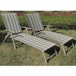 Folding Chaise Lounge Chairs Set Of 2 Patio Furniture Deck Swimming Pool NEW