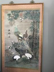 Chinese Asian Scroll Peacock Paintings Vintage Watercolor Silk Set of 2