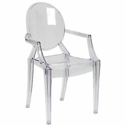 Ghost chair clear lucite Plastic stacking modern Victoria Armchair Mode