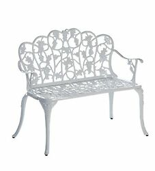 Plow & Hearth Two Seat Metal Garden Bench with Grape Vine Design Powder-Coate...