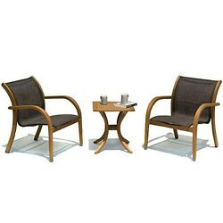 Outdoor Patio Furniture Eucalyptus 3 Piece Square Table and Chairs Set Porch New