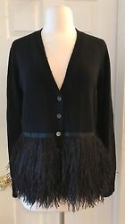 J.CREW COLLECTION CASHMERE FEATHER CARDIGAN SWEATER SIZE M BLACK E6039