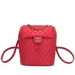 Chanel Urban Spirit Red Quilted Lambskin Backpack
