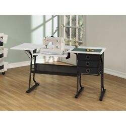 Studio Designs 13362 Eclipse Hobby Sewing Center In Black and White Table