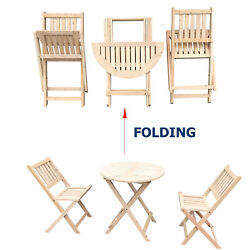 Wooden Folding 3PCS Chair and Table Outdoor Garden Seats Outdoor Deck Furniture