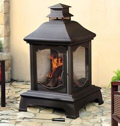 Louise 48 in. Outdoor Enclosed Grand 360 View Fire Bowl Steel Chiminea Fireplace